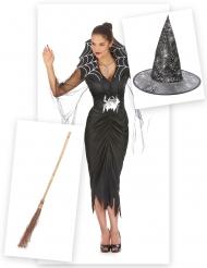 Spinnen heks pack met bezem en hoed voor vrouwen