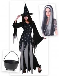 Heksen kostuum pack met ketel en pruik voor vrouwen