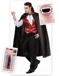 Vampier kostuum pack met tanden en nepbloed voor mannen