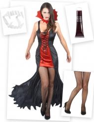 Vampier kostuum pack met tanden, nepbloed en legging voor vrouwen