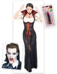 Vampier kostuum pack met tanden en nepbloed voor vrouwen