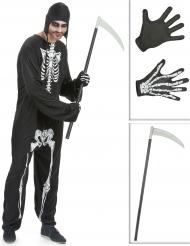 Skelet kostuum pack met zeis en handschoenen voor volwassenen