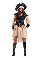 Beige en zwart piraten kostuum voor vrouwen