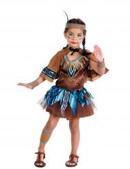 Bruin en blauw indianen kostuum voor meisjes