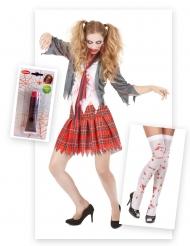 Zombie schoolmeisje pack met nepbloed en kousen voor vrouwen