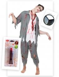 Zombie kostuum pack met nepbloed en schmink voor mannen