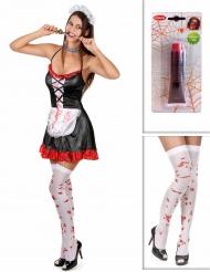 Zombie schoonmaakster pack met kousen en nepbloed voor vrouwen