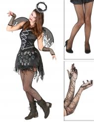 Gothic engel pack met legging en handschoenen voor vrouwen