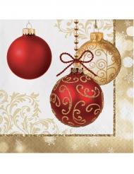 16 goudkleurige kerstballen servetten