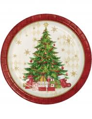 8 rode kartonnen kerstboom borden