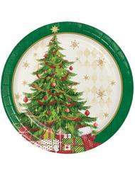 8 kleine kartonnen kerstboom borden