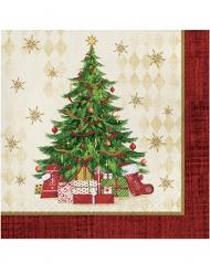 16 papieren kerstboom servetten