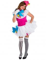 Felle kleurrijke clown outfit voor vrouwen
