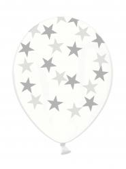 6 doorzichtige latex ballonnen met sterren