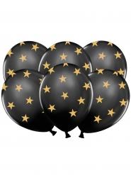 6 zwarte ballonnen met goudkleurige sterren