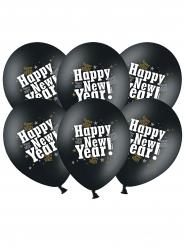 6 zwarte latex Happy New Year ballonnen