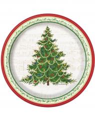 8 kartonnen bordjes met kerstboom 18 cm