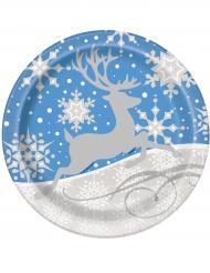 8 kartonnen kerst bordjes 23 cm
