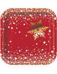 8 kartonnen kerst bordjes 18 cm