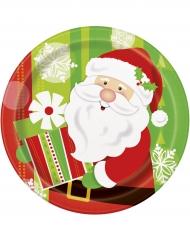 8 kartonnen kerstman bordjes 23 cm