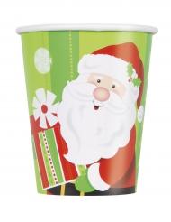8 kartonnen kerstman bekertjes 270 ml