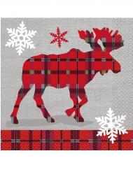 16 kerst servetten met rendier 33 x 33 cm