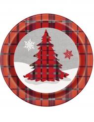 8 kartonnen kerstboom bordjes 23 cm