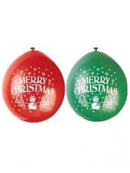 10 groene en rode Merry Christmas ballonnen