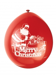 8 rode latex Merry Christmas ballonnen