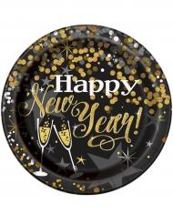 8 kartonnen bordjes Happy New Year 23 cm