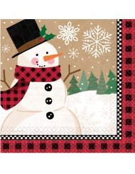 16 papieren kerst servetten sneeuwpop