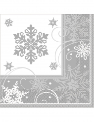 16 papieren sneeuwvlokken servetten