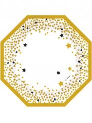 6 zwarte en goudkleurige achthoekige borden