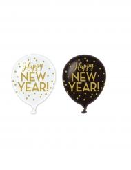 6 goudkleurige Happy New Year ballonnen