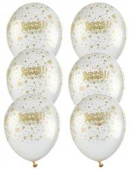 6 doorzichtige ballonnen goud Bonne Année