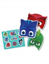 Set 6 maskers en stickers PJMasks™ voor kinderen