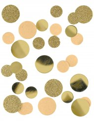 Goudkleurige glitters en papieren confetti