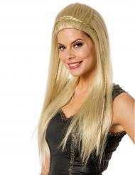 Lange blonde pruik met vlechten