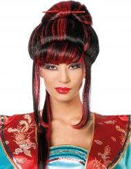 Zwarte en rode Chinese pruik voor vrouwen