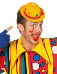 Gele clownshoed met stippen voor volwassenen