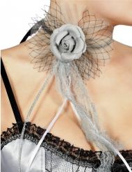 Sluier halsketting met grijze roos voor volwassenen