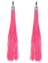 Fluo roze franje oorbellen voor volwassenen