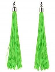 Fluo groene oorbellen met franjes voor volwassenen