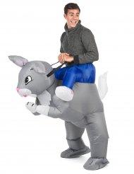 Opblaasbaar konijn kostuum voor volwassenen