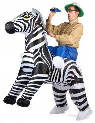 Opblaasbaar zebra kostuum voor volwassenen