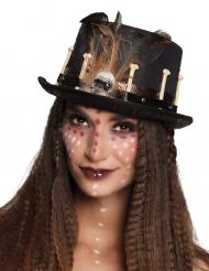 Zwarte voodoo hoge hoed voor volwassenen