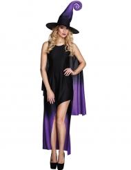 Zwarte en paarse heksenjurk kostuum voor vrouwen