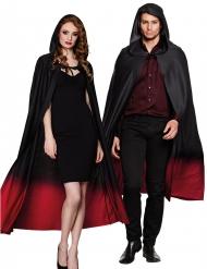 Zwarte cape met rood kleurverloop voor volwassenen