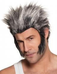 Grijze weerwolf pruik met bakkebaarden voor volwassenen