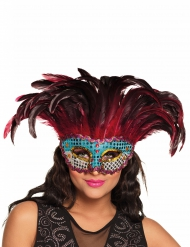 Fenix masker met veren voor volwassenen